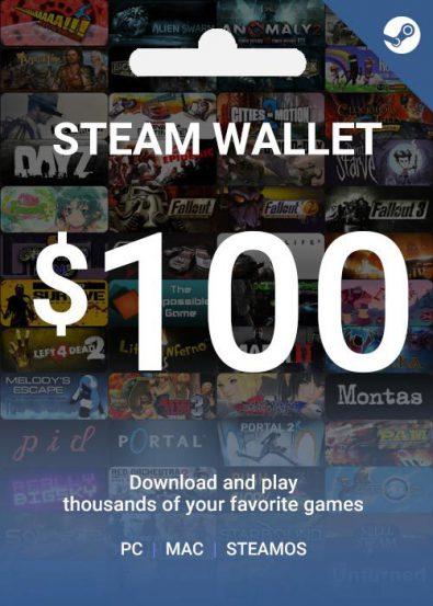 گیفت کارت ۱۰۰ دلاری استیم